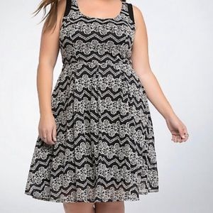 Torrid Black Skater Dress w/ White Lace Overlay 18
